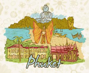 Phuket Doodles Vector Illustration Vector Illustrations palm