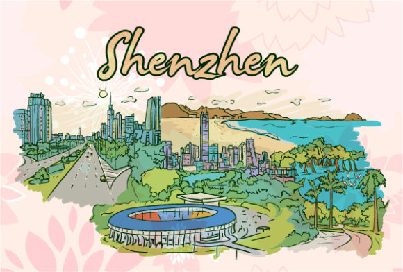 Illustration Vector Graphic: Shenzhen Doodles Vector Graphic Illustration 5
