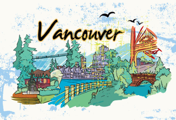 Vancouver Vector Image: Vancouver Doodles With Grunge Vector Image Illustration 02 06 2011 59