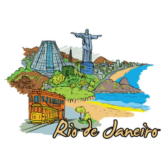 Janeiro Vector Graphic: Rio De Janeiro Doodles Vector Graphic Illustration 5