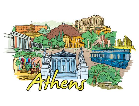 Gorgeous Statue Vector Image: Athens Doodles Vector Image Illustration 02 06 2011 62