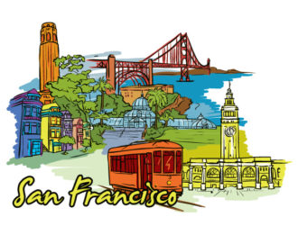 San Francisco Doodles Vector Illustration Vector Illustrations building