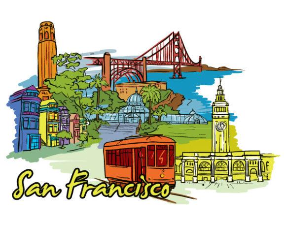 River, Bridge, Illustration Vector Artwork San Francisco Doodles Vector Illustration 02 06 2011 63