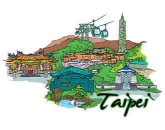 Taipei Doodles Vector Illustration Vector Illustrations tree