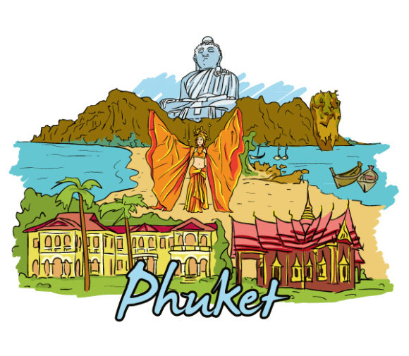Phuket Doodles Vector Illustration Vector Illustrations palm