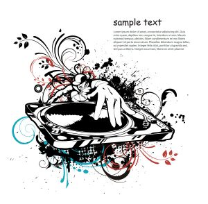 Vector Music Illustration With Dj Vector Illustrations old