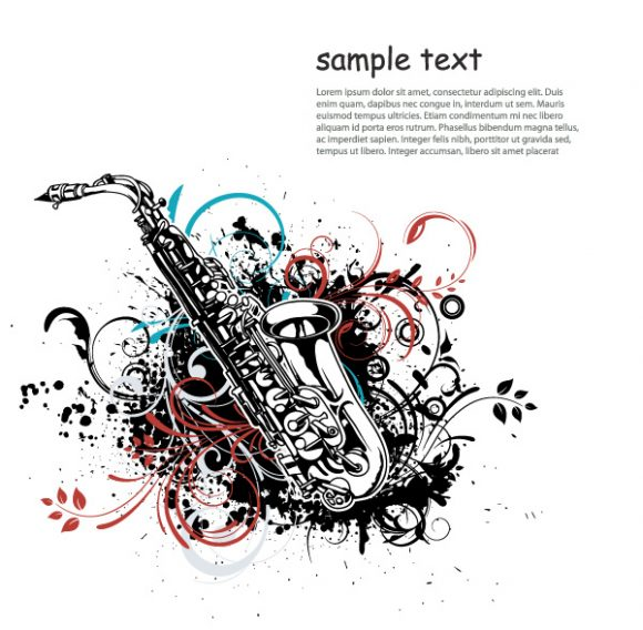 Awesome Saxophone Vector Illustration: Vector Illustration Music Illustration With Saxophone 02 08 2011 52