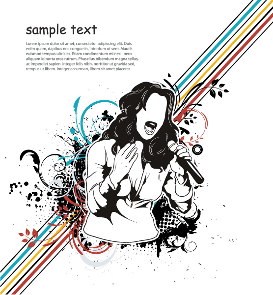 Woman, Illustration, Music-3, Grunge Vector Vector Music Illustration With Singer 02 08 2011 53