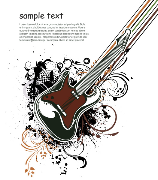 Gorgeous Music Vector Illustration: Vector Illustration Music Illustration With Guitar 02 08 2011 54