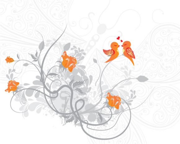 Buy Vector Vector Image: Love Birds Vector Image Illustration 5