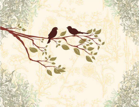 Exciting A Vector Graphic: Birds On A Branch Vector Graphic Illustration 02 08 2011 71
