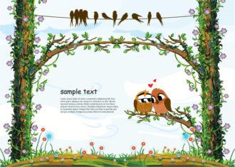 Love Birds Vector Illustration Vector Illustrations tree