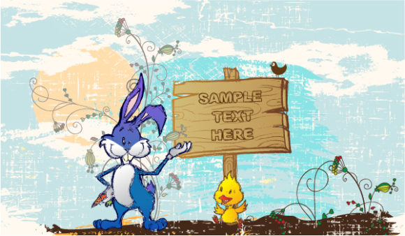 Amazing Background Vector Design: Vector Design Easter Background With Bunny 3