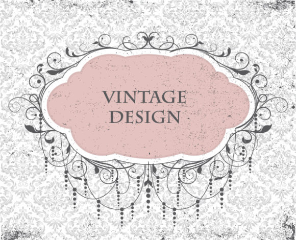Bold Floral-3 Vector Art: Vintage Invitation Vector Art Illustration 5