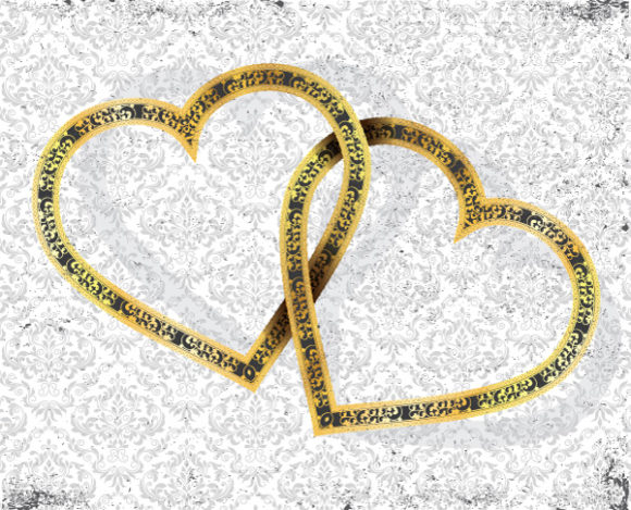 Vector Gold Hearts With Grunge Background 04 05 2011 56