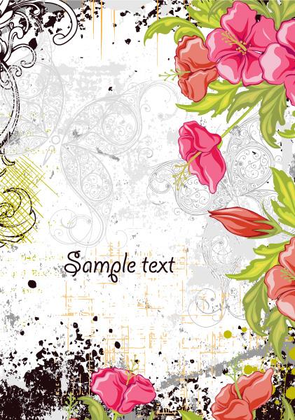 Illustration, Floral Vector Image Grunge Floral Background Vector Illustration 5