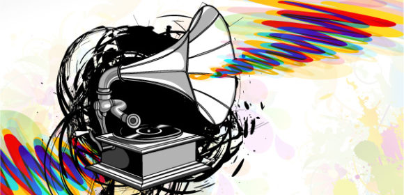 Bold Vector Vector: Vector Gramophone With Grunge 5