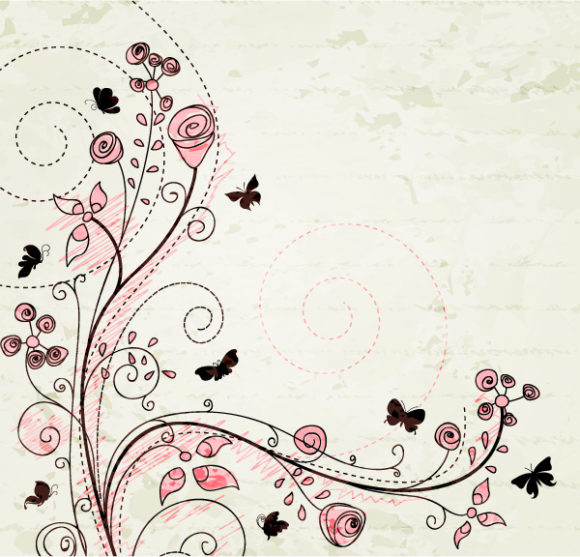 Awesome Rust Vector: Vector Floral With Butterflies 5