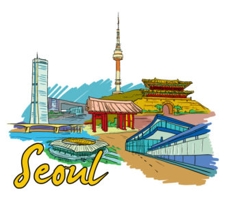 Seoul Doodles Vector Illustration Vector Illustrations building