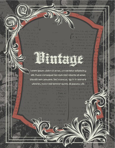 Vintage Vector Art: Vector Art Vintage Frame With Engraved Floral 5