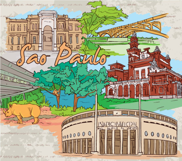 Doodles, Illustration, Grungy Vector Image Sao Paulo Doodles Vector Illustration 06 07 2011 59