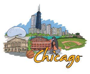 Chicago Doodles Vector Illustration Vector Illustrations ball