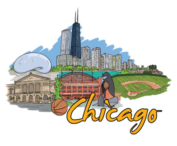 Lovely Basketball Vector Image: Chicago Doodles Vector Image Illustration 5