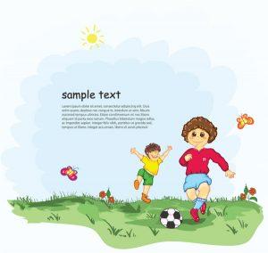 Kids Playing Soccer Vector Illustration Vector Illustrations ball