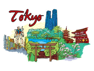 Tokyo Doodles Vector Illustration Vector Illustrations building