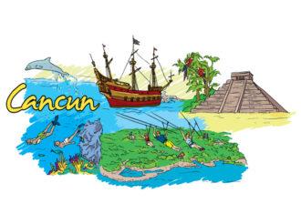 Cancun Doodles Vector Illustration Vector Illustrations sea