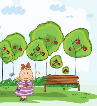 Little Girl In The Park Vector Illustration Vector Illustrations tree
