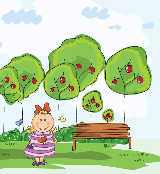 In, Park, Park, Little, Girl Vector Artwork Little Girl In The Park Vector Illustration 5