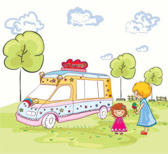 Vector Cartoon Background With Ice Cream Van Vector Illustrations tree