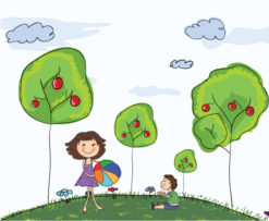 Mom Playing With Son Vector Background Vector Illustrations tree