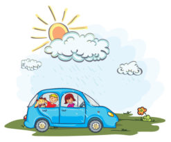 Cartoon Vector Background With Car Vector Illustrations vector
