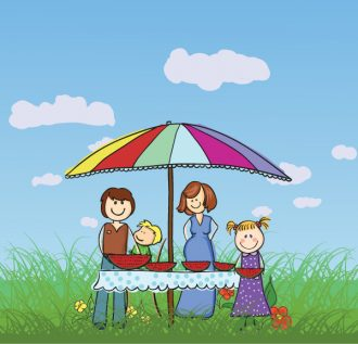 Family In The Park Vector Background Vector Illustrations vector