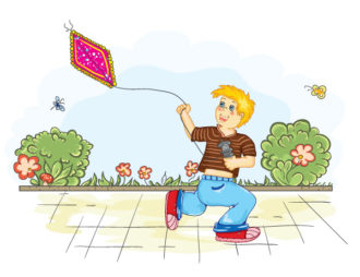 Boy With Kite Vector Background Vector Illustrations vector