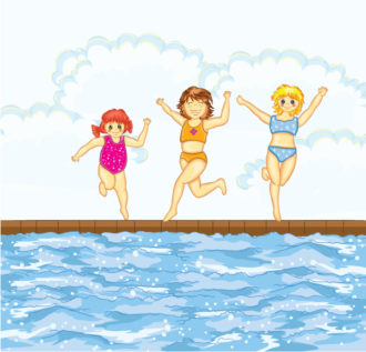 Little Girls At The Pool Vector Illustration Vector Illustrations vector