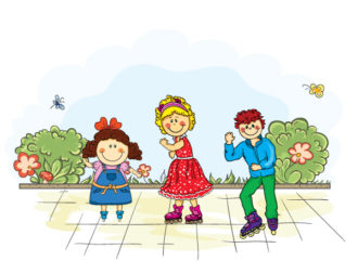 Kids Playing In The Park Vector Illustration Vector Illustrations vector