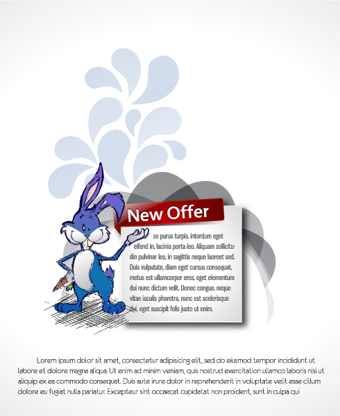 Illustration Vector Illustration: Bunny With Banner Vector Illustration Illustration 3