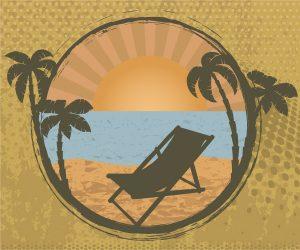 Grunge Summer Frame Vector Illustration Vector Illustrations palm