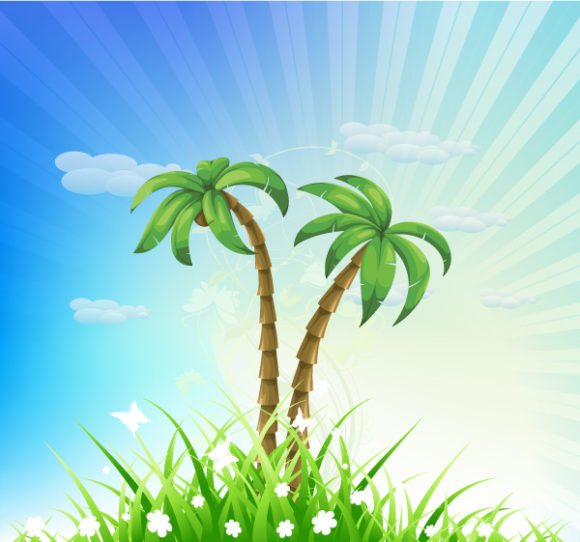 New Illustration Vector Design: Summer Background With Palm Trees Vector Design Illustration 08 04 2011 57