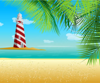 Summer Background With Light Tower Vector Illustration Vector Illustrations palm
