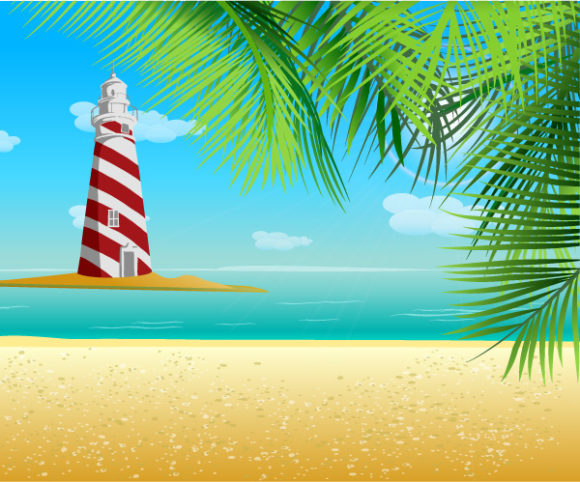 With Vector Graphic Summer Background With Light Tower Vector Illustration 08 04 2011 58