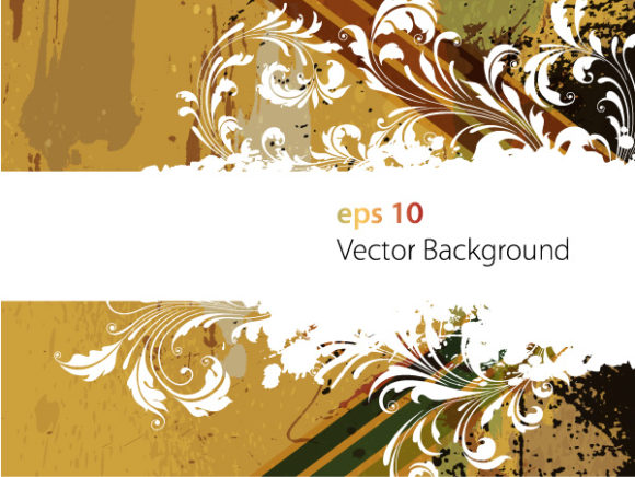 Vector Vector Illustration: Vector Illustration Retro Floral Background 5