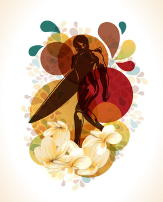 Surfer With Flowers Vector Illustration Vector Illustrations summer