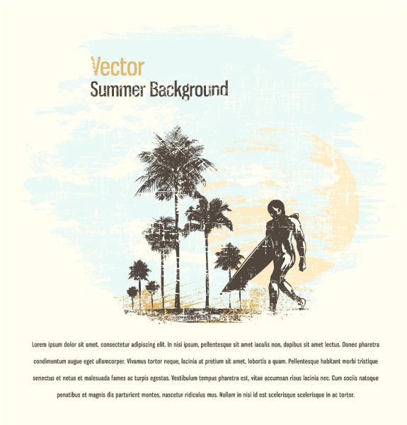 Insane Illustration Vector Design: Grunge Summer Background Vector Design Illustration 5