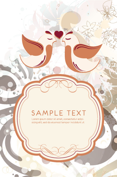 Gorgeous For Vector Image: Vector Image Love Birds With Frame For Text 08 04 2011 80