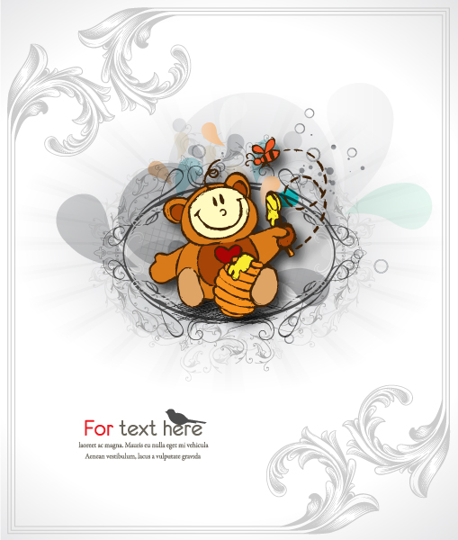 Surprising Kid Vector Background: Vector Background Cute Kid With Floral Background 5