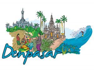 Denpasar Doodles Vector Illustration Vector Illustrations palm